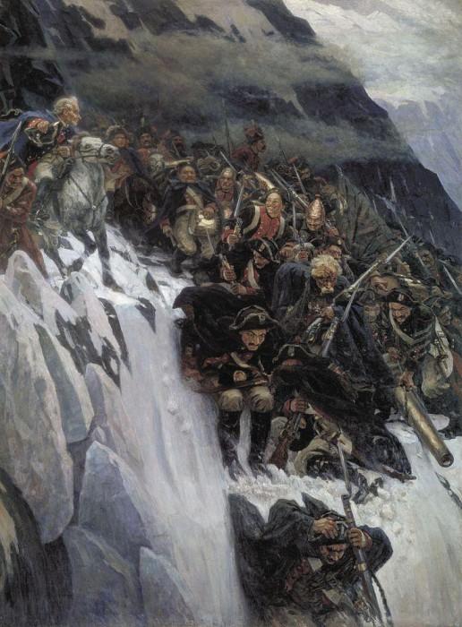 Суриков: Переход Суворова через Альпы в 1799 году. 1899