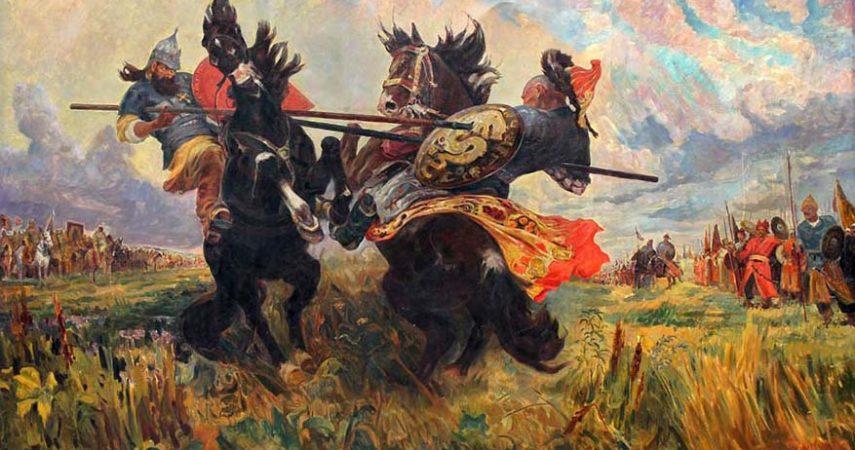 М. И. Авилов. «Битва Пересвета с Челубеем на Куликовом поле». 1943.