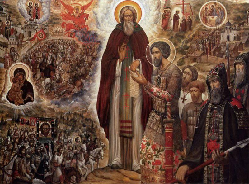 Икона «Святые Сергий Радонежский и Дмитрий Донской», написанная священником Сергеем Симаковым в XX в.